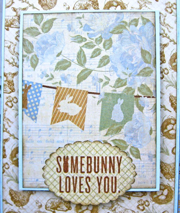 Authentique Abundant Peter Cottontail Shaker Card by Kathy Clement Kathy by Design Tim Holtz Lace Baseboard Frame Photo 08