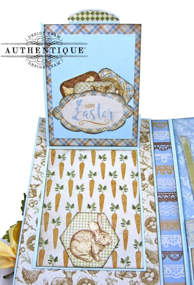 Authentique Abundant Peter Cottontail Shaker Card by Kathy Clement Kathy by Design Tim Holtz Lace Baseboard Frame Photo 09