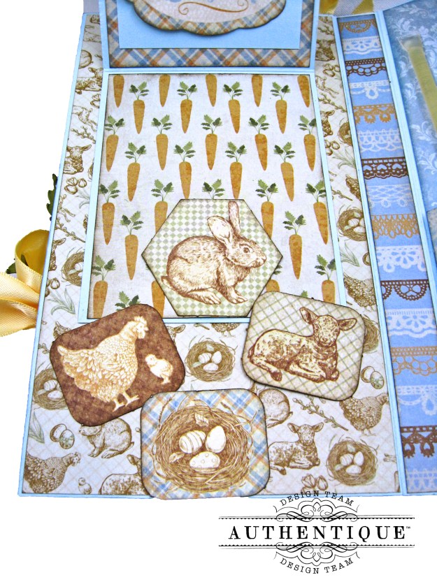 Authentique Abundant Peter Cottontail Shaker Card by Kathy Clement Kathy by Design Tim Holtz Lace Baseboard Frame Photo 10