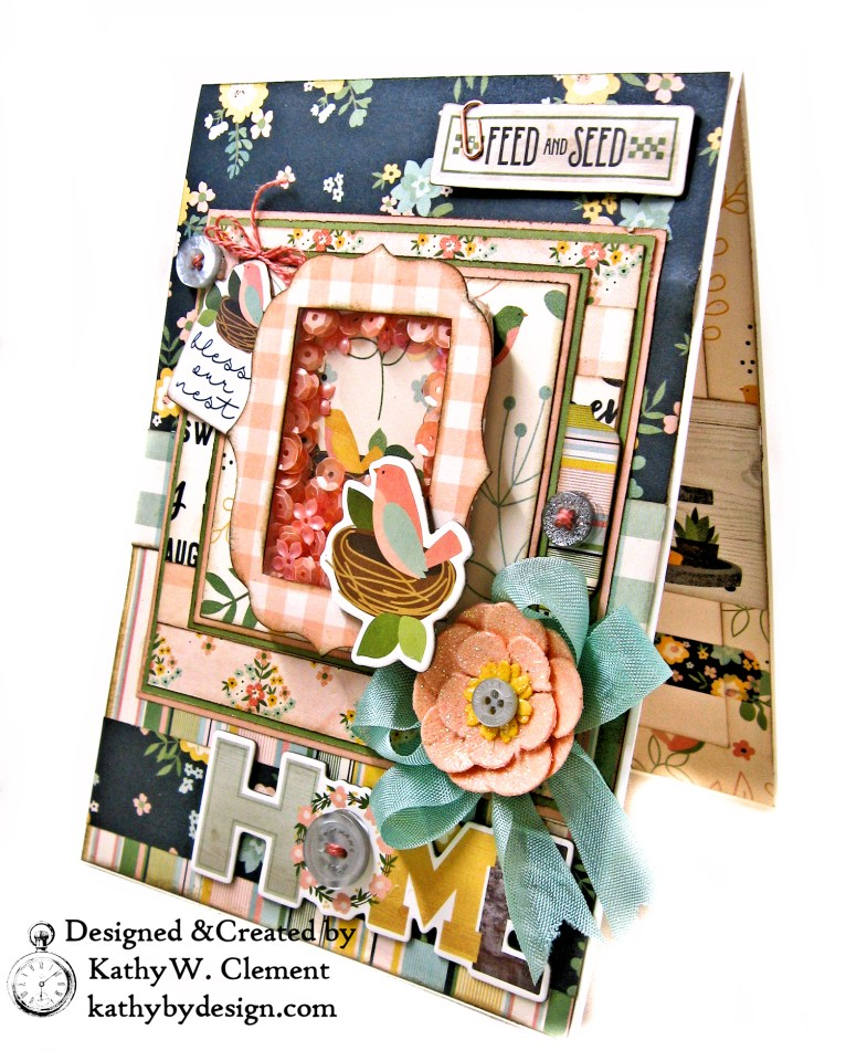 Simple Stories Spring Farmhouse Bless Our Nest Shaker Card by Kathy Clement Kathy by Design