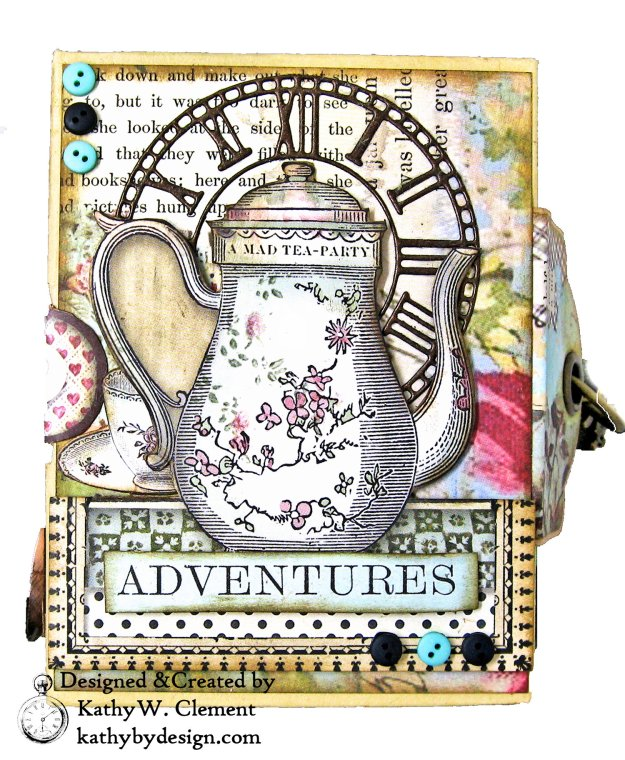 Stamperia Alice Tea Box Mini Album Tutorial by Kathy Clement Kathy by Design for The Funkie Junkie Boutique Photo 01