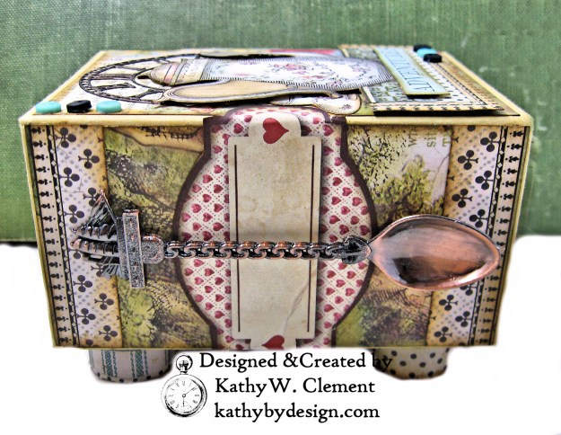 Stamperia Alice Tea Box Mini Album Tutorial by Kathy Clement Kathy by Design for The Funkie Junkie Boutique Photo 04