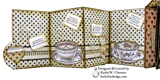 Stamperia Alice Tea Box Mini Album Tutorial by Kathy Clement Kathy by Design for The Funkie Junkie Boutique Photo 10