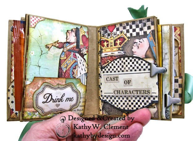 Stamperia Alice Tea Box Mini Album Tutorial by Kathy Clement Kathy by Design for The Funkie Junkie Boutique Photo 12