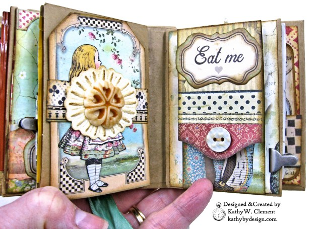 Stamperia Alice Tea Box Mini Album Tutorial by Kathy Clement Kathy by Design for The Funkie Junkie Boutique Photo 13