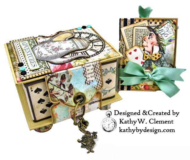 Stamperia Alice Tea Box Mini Album Tutorial by Kathy Clement Kathy by Design for The Funkie Junkie Boutique Photo 06