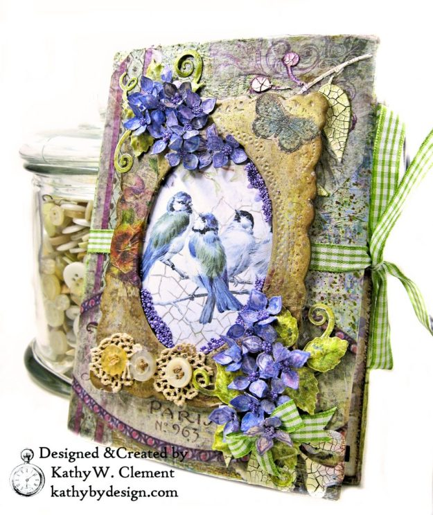 Stamperia Lilac Flower Alphabet Tissue Wrapped Journal Tim Holtz Lace Baseboard Frame Heartfelt Creations Lush Lilac by Kathy Clement for The Funkie Junkie Boutique Photo 01