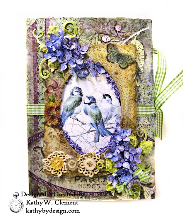 Stamperia Lilac Flower Alphabet Tissue Wrapped Journal Tim Holtz Lace Baseboard Frame Heartfelt Creations Lush Lilac by Kathy Clement for The Funkie Junkie Boutique Photo 02