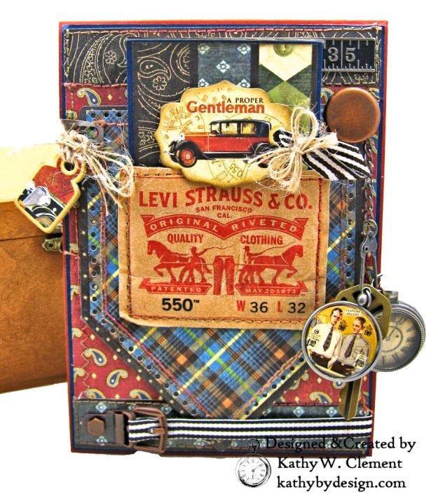 Graphic 45 Proper Gentleman Card with Eileen Hull House Pocket Stitchlets Dies by Kathy Clement kathy by design for The Funkie Junkie Boutique Photo 04