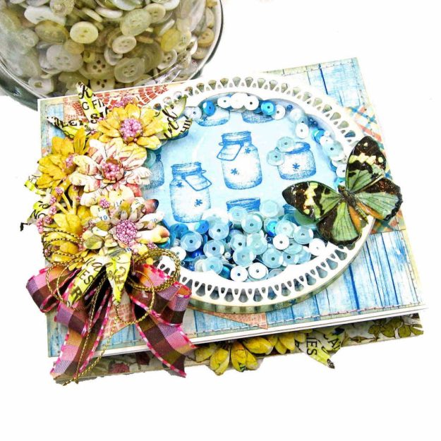 Amazing Paper Grace Vintage Treasure Dies Brillante Rondelle Cinch and Go V Flowers Authentique Endless Easel Shaker Card by Kathy Clement Kathy by Design Photo 01