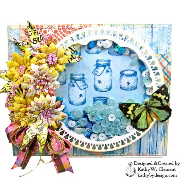 Amazing Paper Grace Vintage Treasure Dies Brillante Rondelle Cinch and Go V Flowers Authentique Endless Easel Shaker Card by Kathy Clement Kathy by Design Photo 02