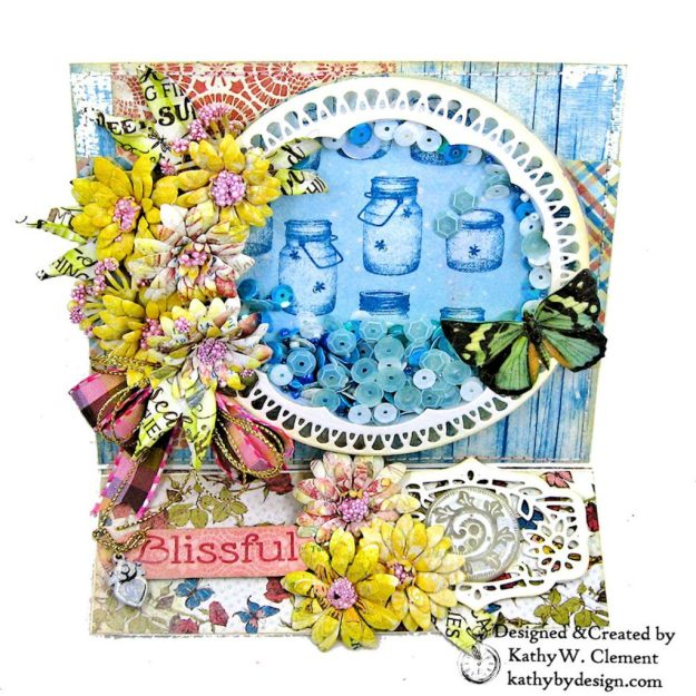 Amazing Paper Grace Vintage Treasure Dies Brillante Rondelle Cinch and Go V Flowers Authentique Endless Easel Shaker Card by Kathy Clement Kathy by Design Photo 04