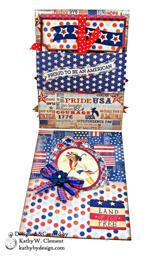 Authentique Liberty Star Spangled Cowgirl Boots Card Folio by Kathy Clement Kathy by Design for Really Reasonable Ribbon Photo 03
