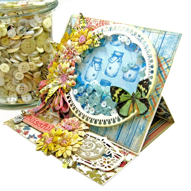 Amazing Paper Grace Vintage Treasure Dies Brillante Rondelle Cinch and Go V Flowers Authentique Endless Easel Shaker Card by Kathy Clement Kathy by Design Photo 03