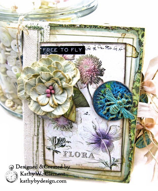 Stamperia Spring Botanic Eileen Hull Notebook Video Tutorial by Kathy Clement Kathy by Design for The Funkie Junkie Boutique Photo 01