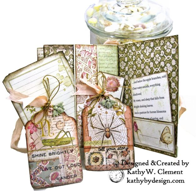 Eileen Hull Notebook Die Stamperia Spring Botanic Mini Album by Kathy Clement Kathy by Design for The Funkie Junkie Boutique Photo 07