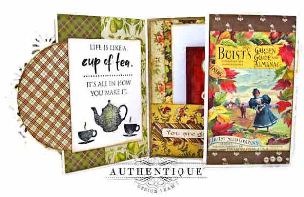 Double Z Fold Tea Themed Card Folio by Kathy Clement Kathy by Design Authentique Gracious