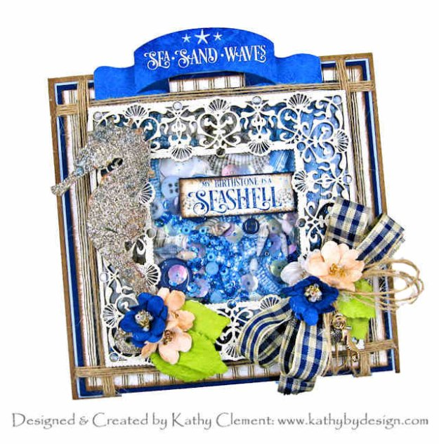Graphic 45 Ocean Blue Shaker Card by Kathy Clement Kathy by Design Photo 01
