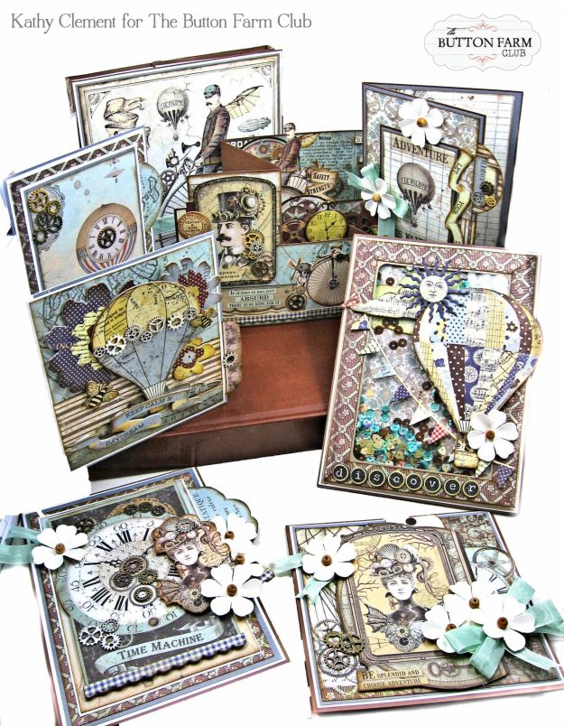 Stamperia Voyages Fantastique Card Kit by Kathy Clement Kathy by Design for The Button Farm Club Photo 01