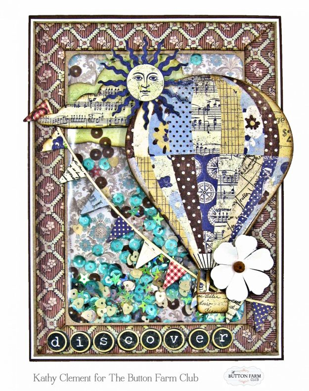 Stamperia Voyages Fantastique Shaker Card by kathy Clement Kathy by Design Photo 01