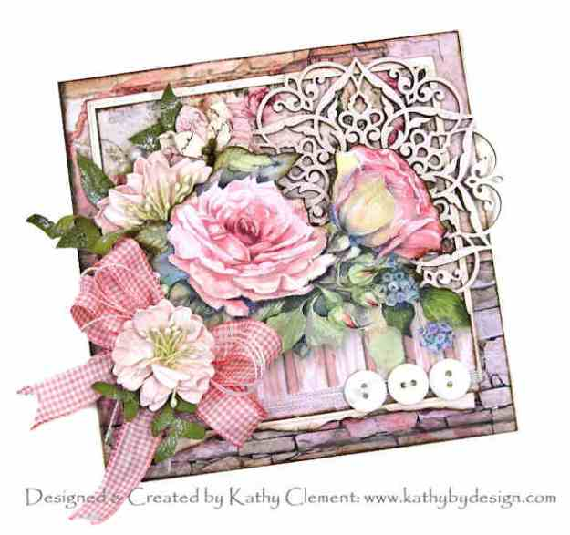Shabby Pink Roses Card Stamperia House of Roses Reneabouquets April in Paris Beautiful Board Really Reasonable Ribbon by Kathy Clement Kathy by Design Photo 01