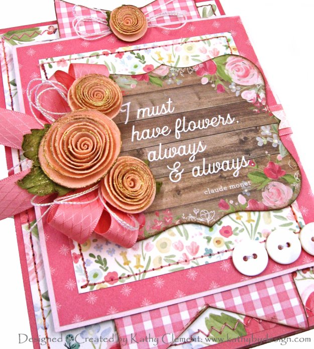 Must Have Flowers Carta Bella Farmhouse Card Folio by Kathy Clement Kathy by Design for Really Reasonable Ribbon Photo 01