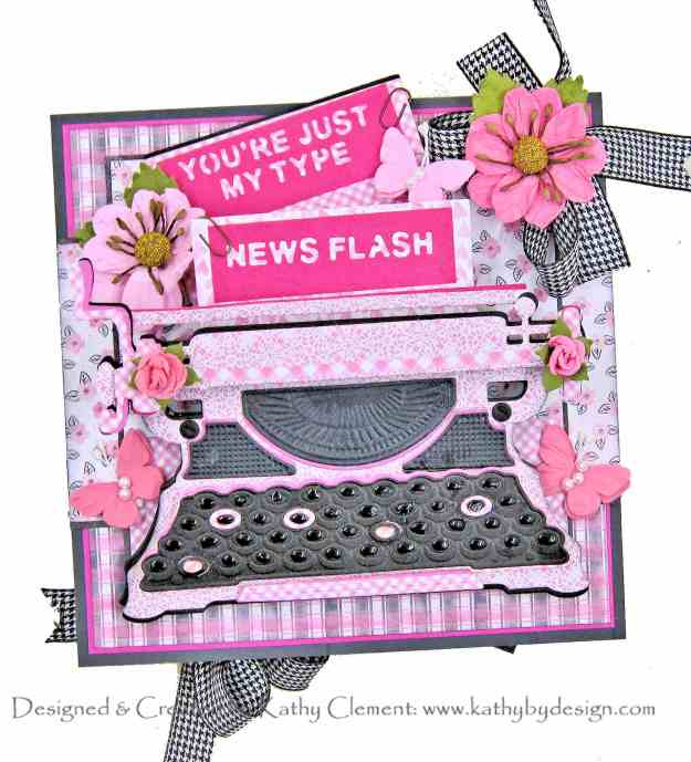 Spellbinders APG 3D Vignette Typewriter Easel Card by Kathy Clement Authentique Flawless Photo 01