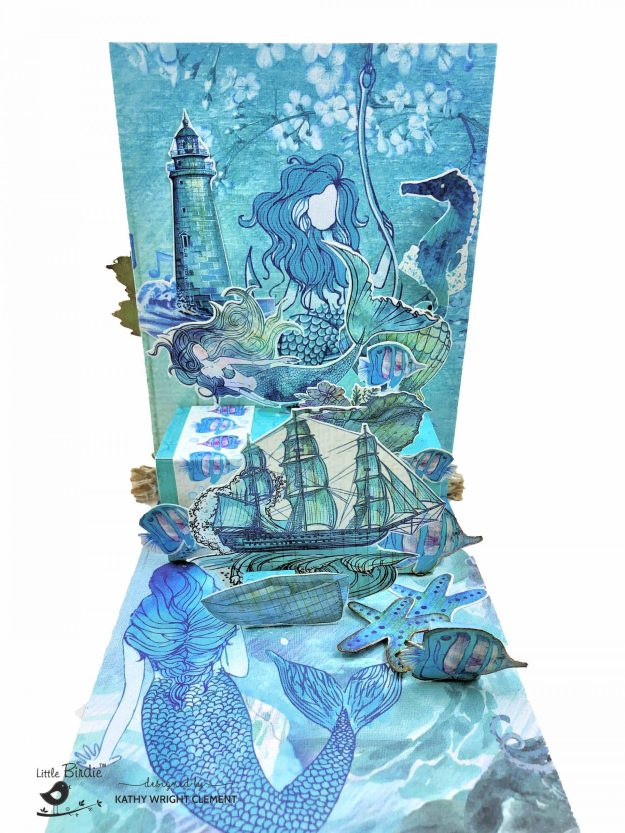 Little Birdie Crafts Songs of the Sea Mermaid Garden Pop Up Card Tutorial by Kathy Clement Kathy by Design Photo 01