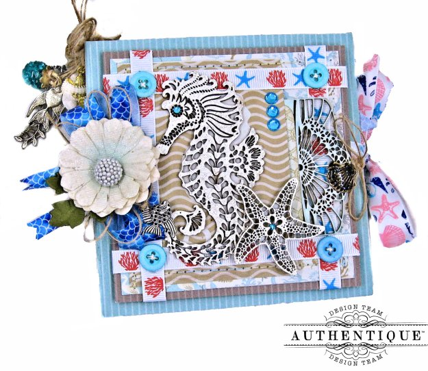 Authentique Voyage Sparkling Seahorse Beach Folio by Kathy Clement Kathy by Design for Really Reasonable Ribbon Photo 01