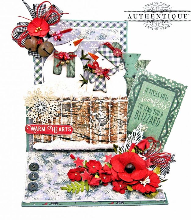 Eileen Hull Sizzix Snowman Box Easel Card Authentique Snowfall by Kathy Clement Kathy by Design Photo 01