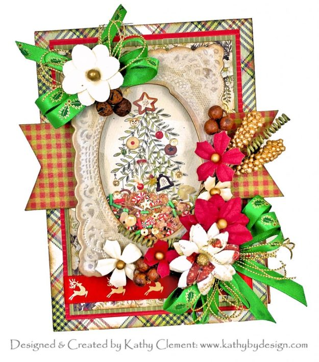Authentique Christmas Greetings Shaker Card Magical Christmas by Kathy Clement Kathy by Design for Really Reasonable Ribbon
