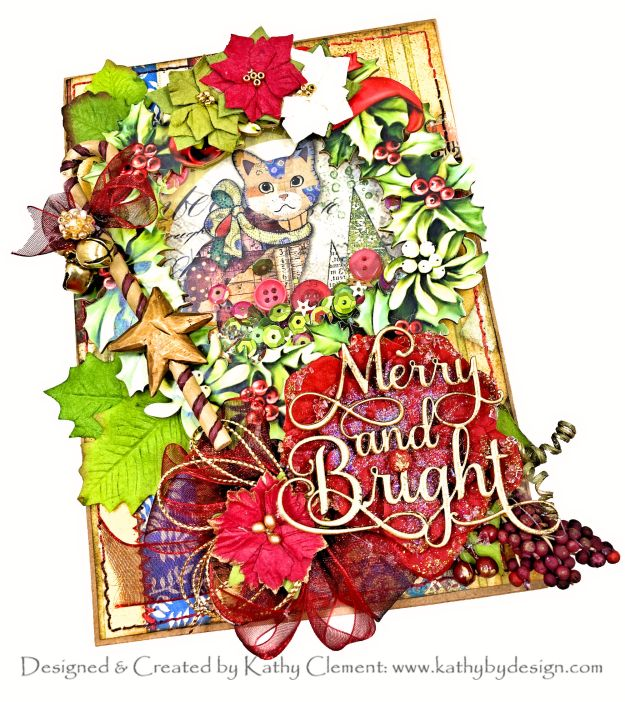 Meowy Christmas Shaker Card Stamperia Make a Wish Reneabouquets Printed Beautiful Board by Kathy Clement Kathy by Design Photo 01