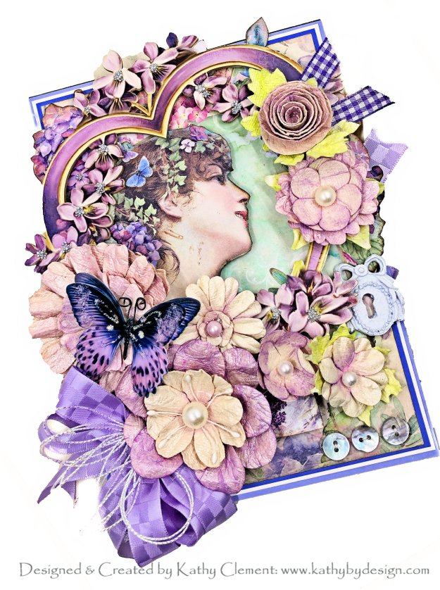 Stamperia Hortensia Framed Card Reneabouquets Beautiful Board by Kathy Clement for Really Reasonable Ribbon