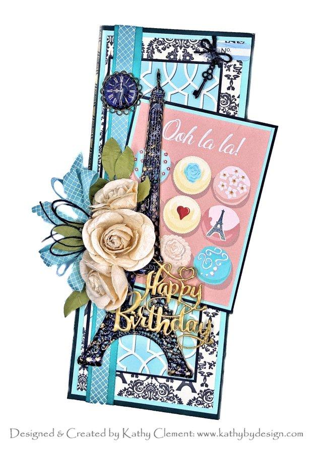 Slimline Eiffel Tower Birthday Card Carta Bella En Vogue by Kathy Clement Photo 01