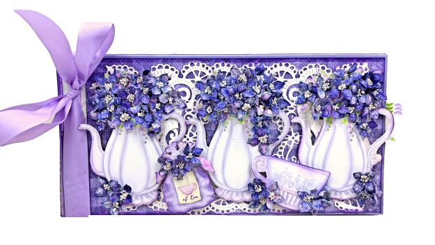 Heartfelt Creations Lush Lilac Tea Time Tea Party in a Box Card by Kathy Clement