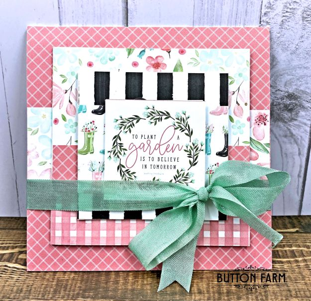 Pyramid Card Carta Bella Card Kit by Kathy Clement for The Button Farm Club