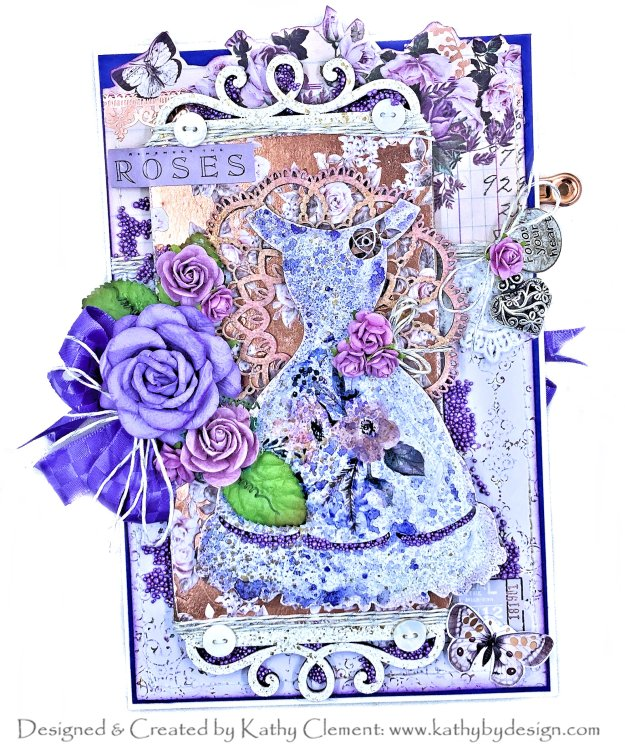 Mixed Media Techniques for Chipboard Prima Lavender Laserowe Love by Kathy Clement Photo 01
