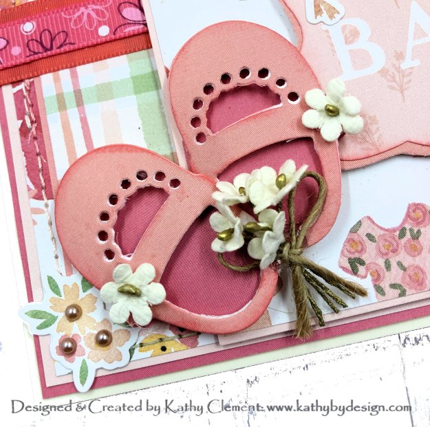 Echo Park Welcome Baby Girl Itty Bitty Baby Shoes Card Folio by Kathy Clement for Really Reasonable Ribbon Photo 01