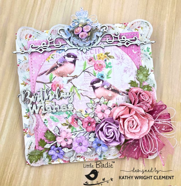 Little Birdie Crafts Celebrate Life Mixed Media Card by Kathy Clement Photo 01