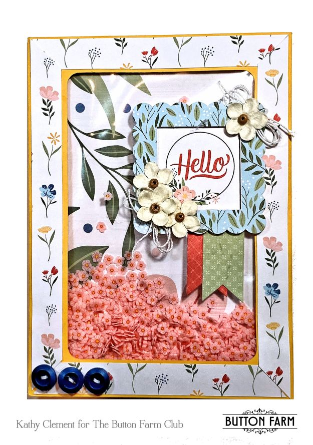 Salutations Shaker Card Echo Park by Kathy Clement for The Button Farm Club Photo 01