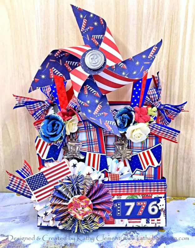Carta Bella God Bless America Pinwheel Pocket Card by Kathy Clement for Really Reasonable Ribbon Photo 01