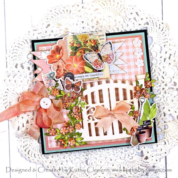 Spellbinders May 2021 Amazing Paper Grace Die of the Month Vignette Garden Gate Simple Stories Simple Vintage Farmhouse Garden Kathy Clement Photo 01