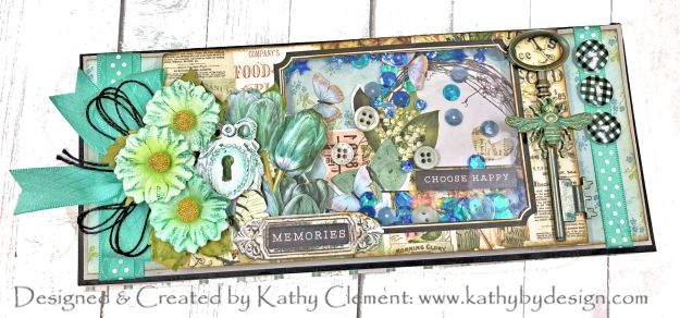Simple Stories Farmhouse Garden Slimline Shaker Card by Kathy Clement for Really Reasonable Ribbon Photo 01