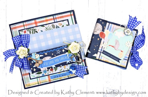 Echo Park Welcome Baby Boy Kangaroo Pocket Folio Tutorial by Kathy Clement Photo 01
