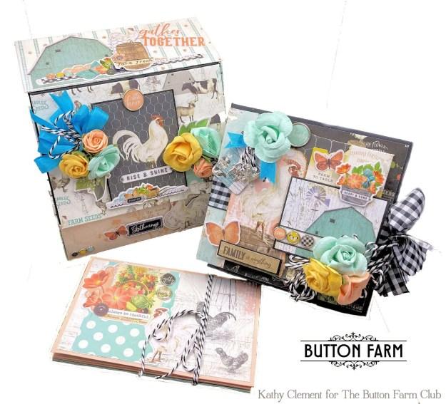Farmhouse Garden Bread Box Album Kit for The Button Farm Club by Kathy Clement Photo 01