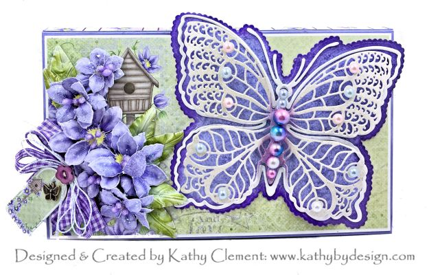 Climbing Clematis Floral Butterfly Tea Party in a Box Card by Kathy Clement Photo 01