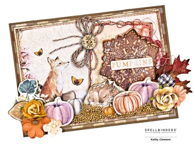 Spellbinders Sparkling Mandala Prima Autumn Sunset Forest Friends Card by Kathy Clement Photo 01
