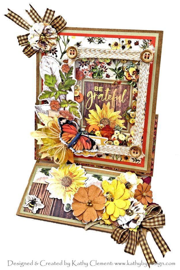 Simple Stories Autumn Splendor Be Grateful Shaker Card by kathy Clement Photo 01
