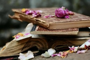 Stack of old, crumbling books strewn with rose petals.