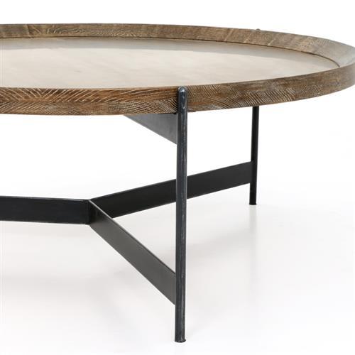 sebastian modern classic iron round burnt oak tray style round coffee table